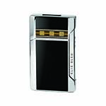 Elie Bleu Plano Jet Flame Lighter in Black Lacquer & Alba Marquetry - L1035