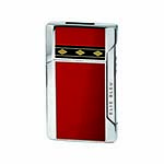 Elie Bleu Plano Jet Flame Lighter in Red Lacquer & Alba Marquetry - L1037
